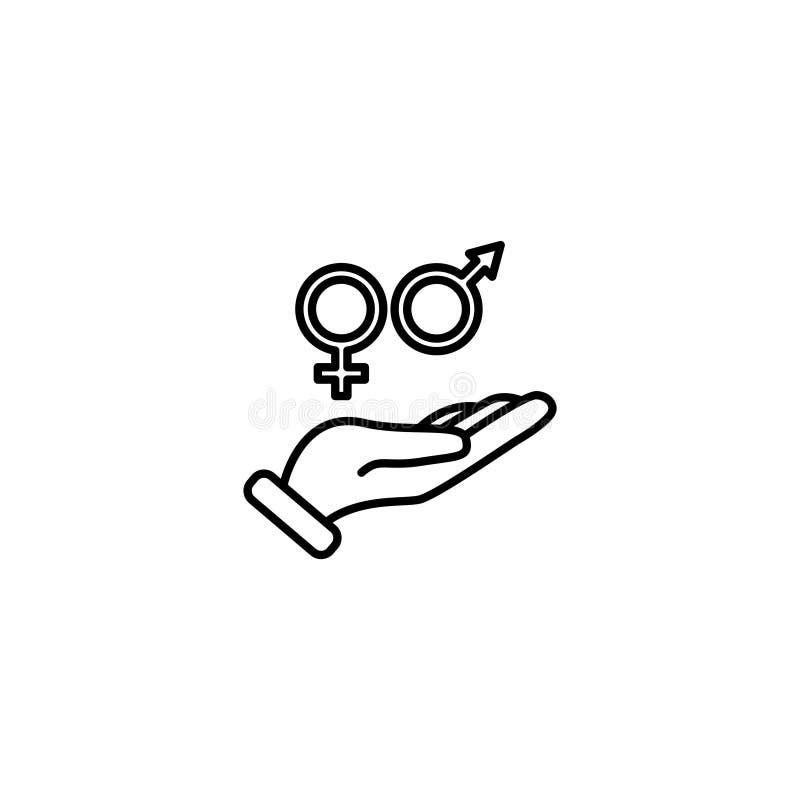 线象 性别男人和妇女的标志标志在手中 向量例证
