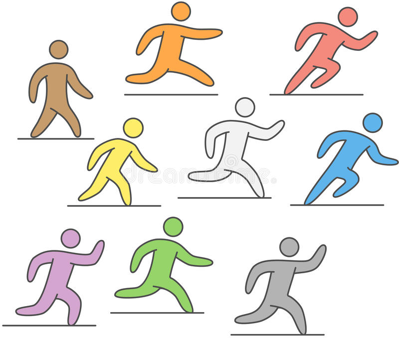 线赛跑者剪影  图运动员跑 向量例证