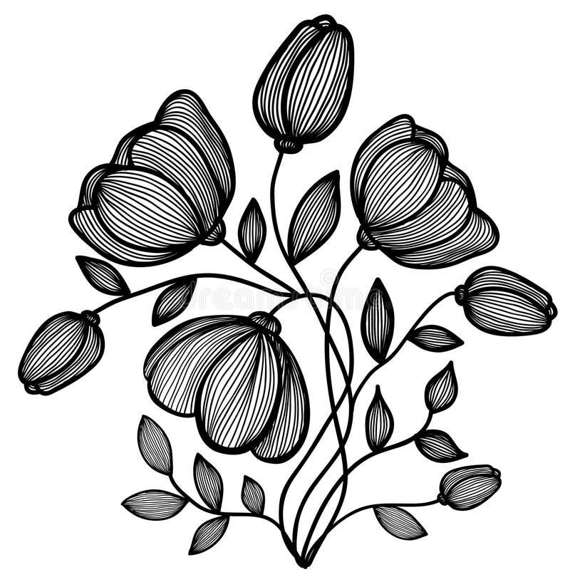 线路的美丽的抽象黑白花。 选拔查出在白色 向量例证