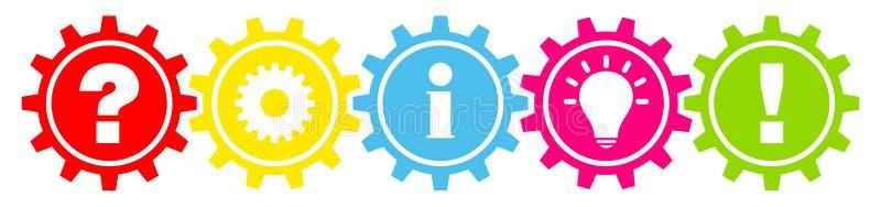 线连接了五颜六色的齿轮对工作信息想法和答复表示怀疑 向量例证