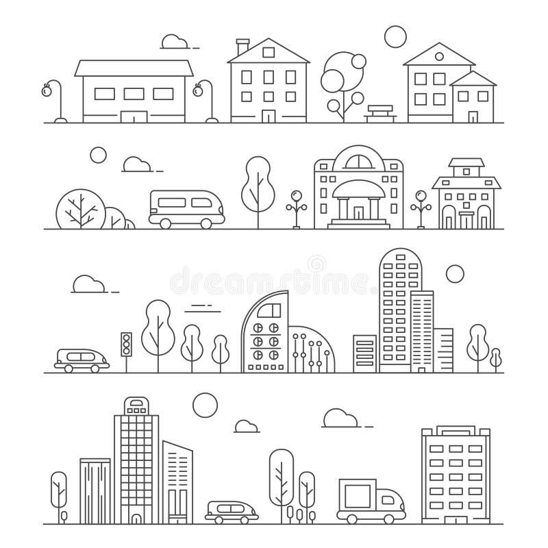 线都市风景 套各种各样的城市大厦 向量例证