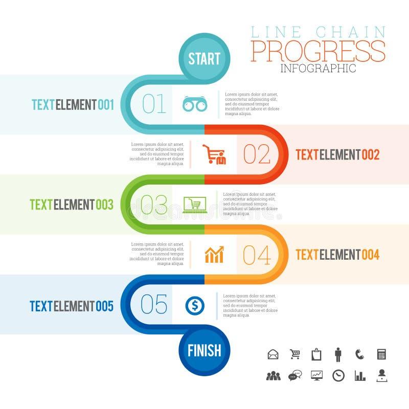 线链子进展Infographic 库存例证
