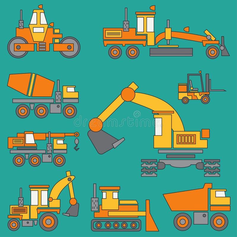 线颜色传染媒介象建筑机械设置了与推土机,起重机,卡车,挖掘机,铲车,水泥搅拌车 库存例证