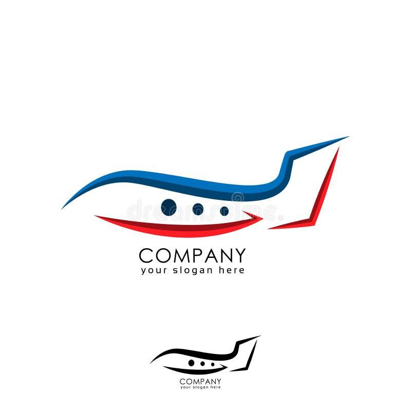 线飞机在白色背景的商标模板 向量例证