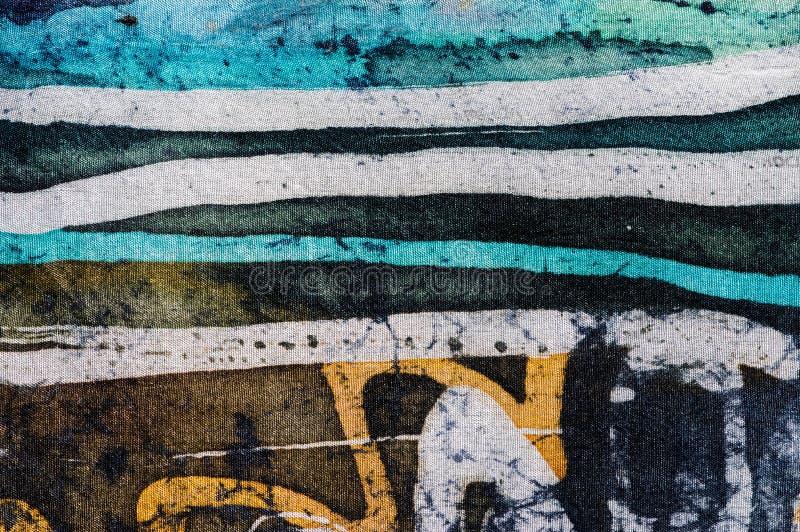线,热的蜡染布,背景纹理,手工制造在丝绸,抽象超现实主义艺术 免版税库存图片