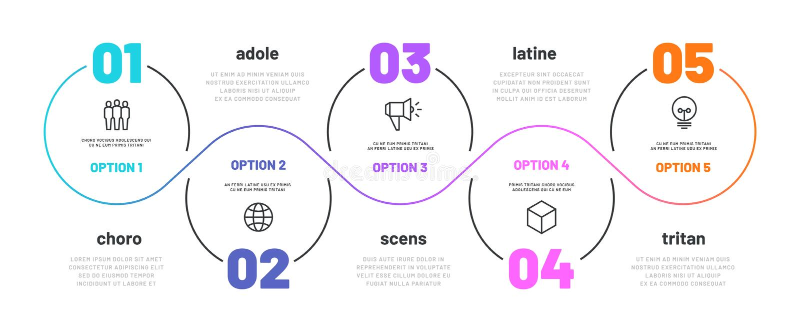 线infographic的步 5个选择工作流图,数字infograph,与线象的处理步图 信息 向量例证