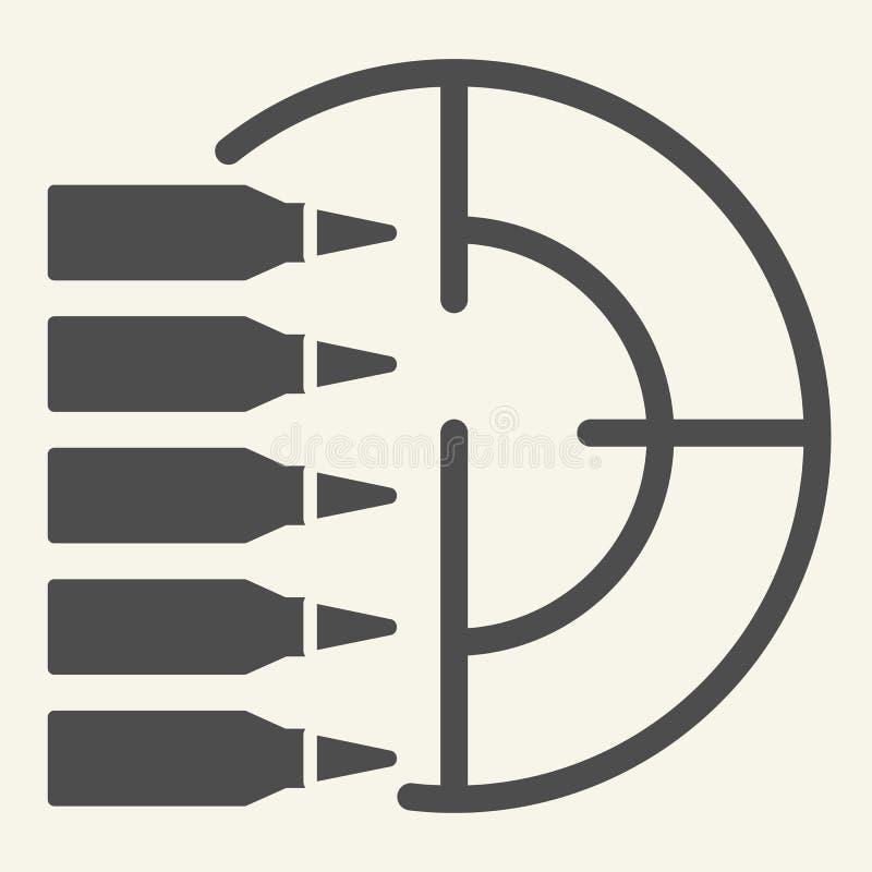 练习打靶坚实象 在白色隔绝的目标和子弹传染媒介例证 射击纵的沟纹样式设计,设计为 皇族释放例证