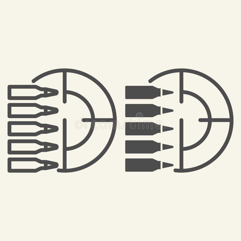 练习打靶线和纵的沟纹象 在白色隔绝的目标和子弹传染媒介例证 射击概述样式设计 皇族释放例证