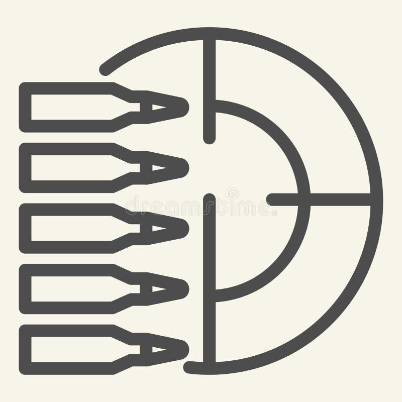 练习打靶线象 在白色隔绝的目标和子弹传染媒介例证 射击概述样式设计,被设计 皇族释放例证