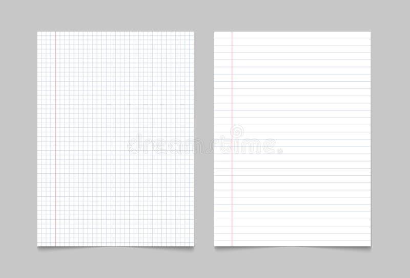 练习本纸页背景 笔记本板料被排行的纹理样式 皇族释放例证
