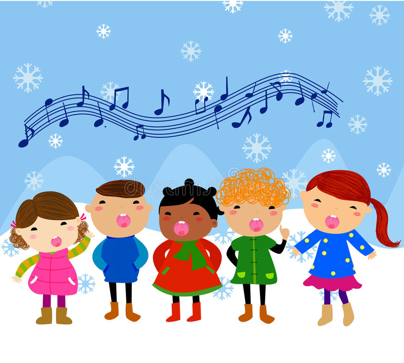 组儿童唱歌 皇族释放例证