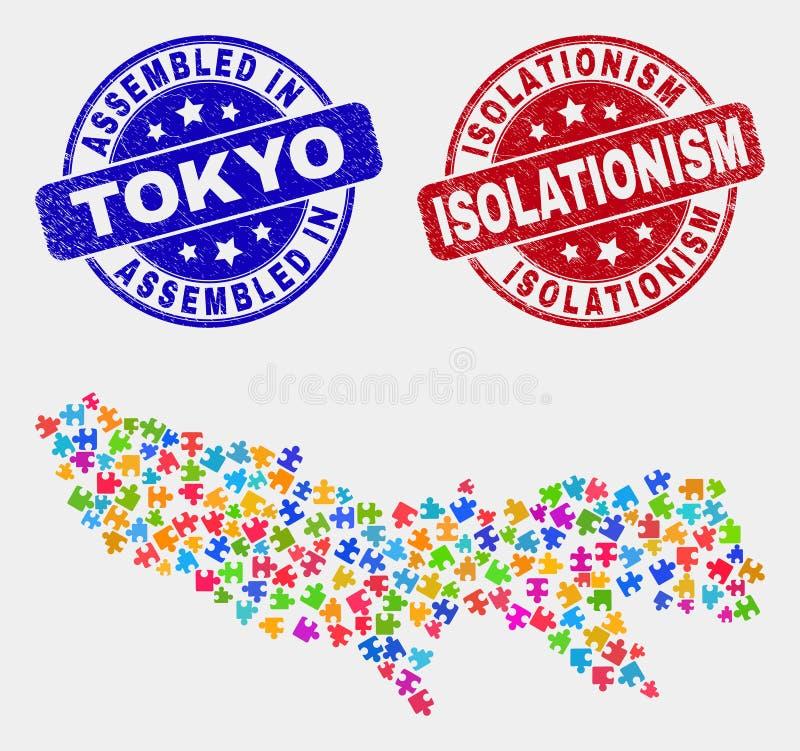 组分东京专区地图和困厄被装配的和孤立主义封印 向量例证