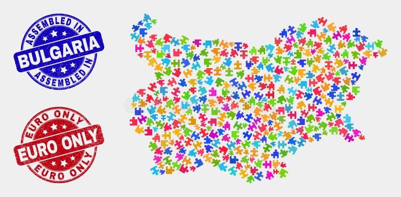 组分保加利亚地图和困厄被装配的和欧元唯一的邮票 向量例证