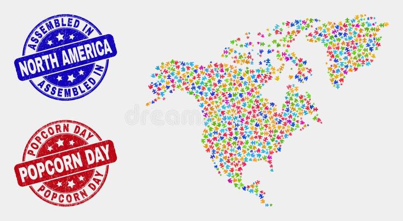 组分北美洲地图和困厄被装配的和玉米花天邮票 库存例证