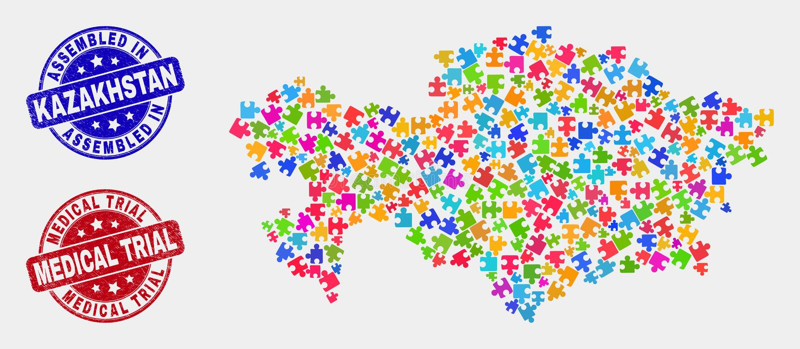 组分哈萨克斯坦地图和抓被装配的和医疗试验邮票封印 向量例证