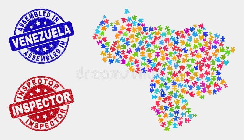 组分委内瑞拉地图和抓被装配的和审查员邮票 皇族释放例证