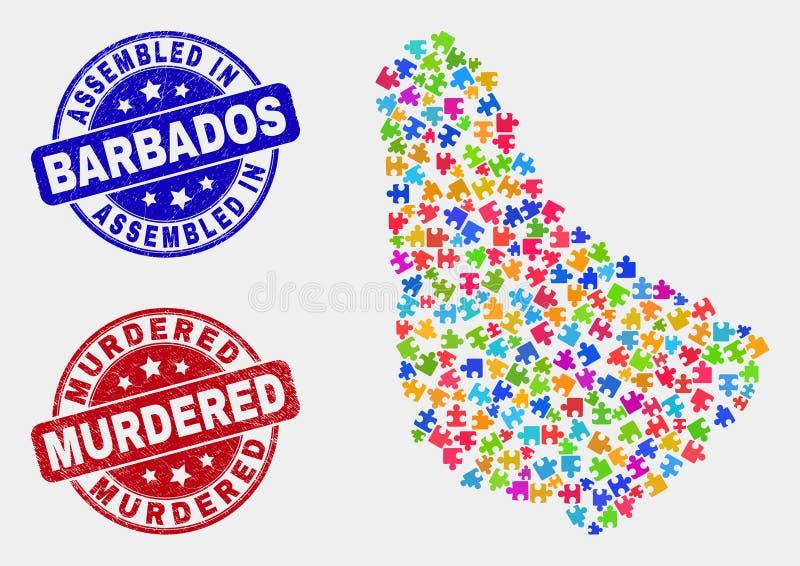 组分巴巴多斯地图和难看的东西被装配的和被谋杀的水印 向量例证