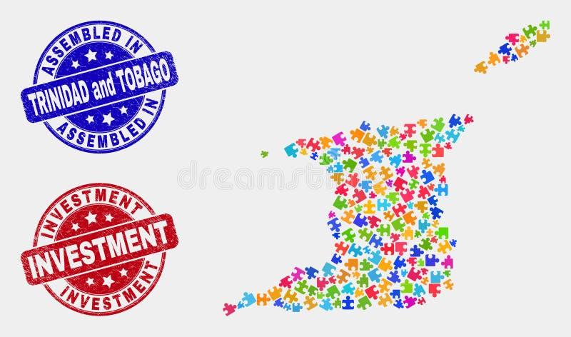 组分特立尼达和多巴哥地图和难看的东西被装配的和投资邮票封印 皇族释放例证