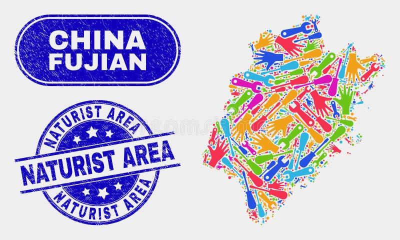 组分福建地图和难看的东西裸体主义者地区邮票封印 向量例证