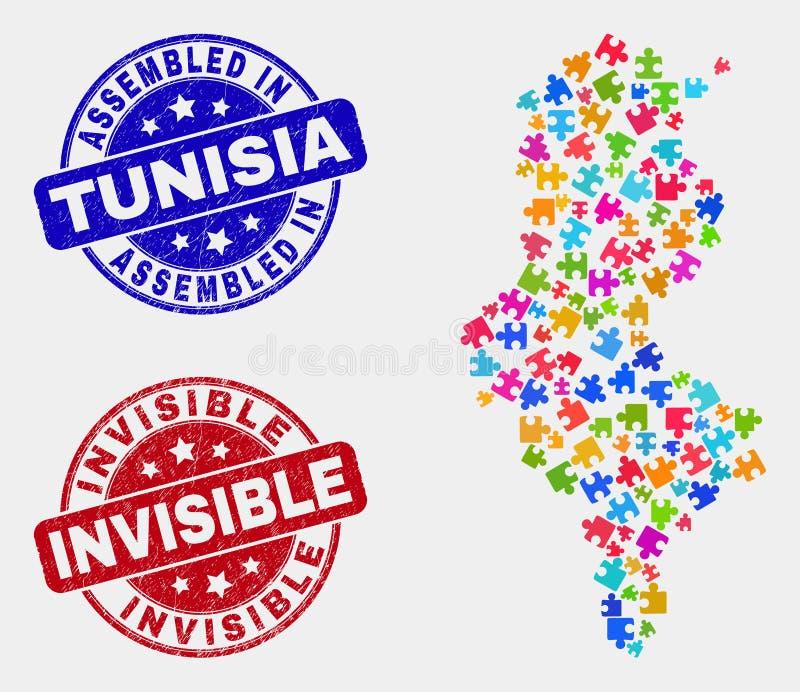 组分突尼斯地图和抓被装配的和无形的邮票封印 库存例证