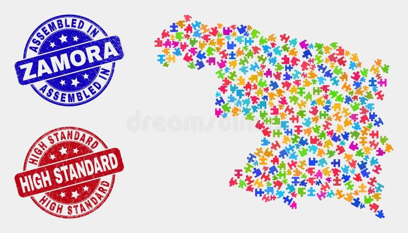 组分萨莫拉省地图和难看的东西被装配的和高标准邮票封印 库存例证