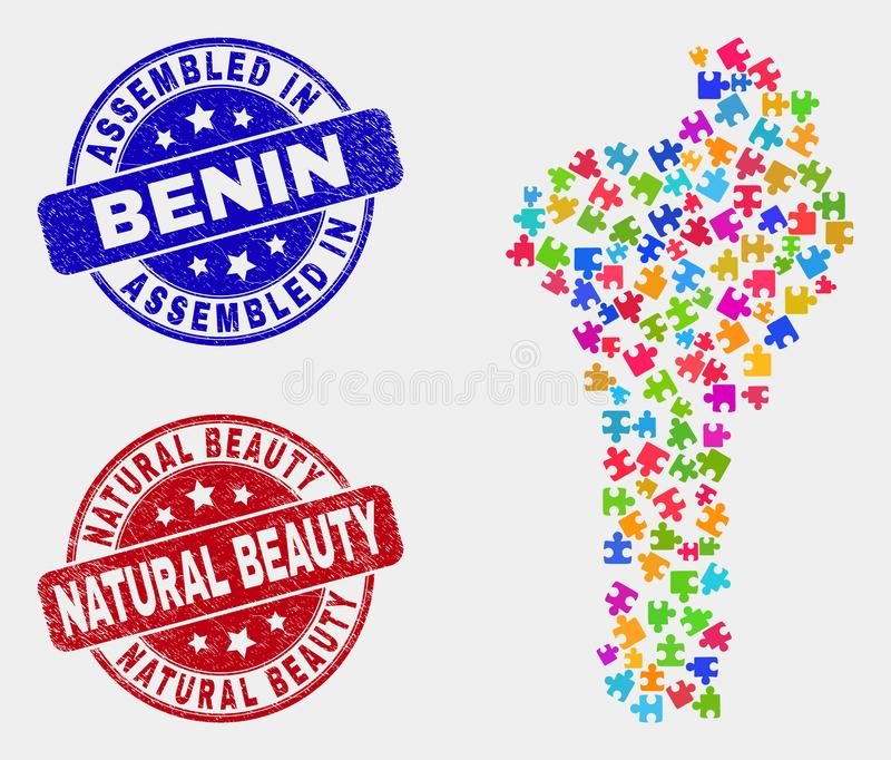 组分贝宁地图和困厄被装配的和自然美人封印 向量例证