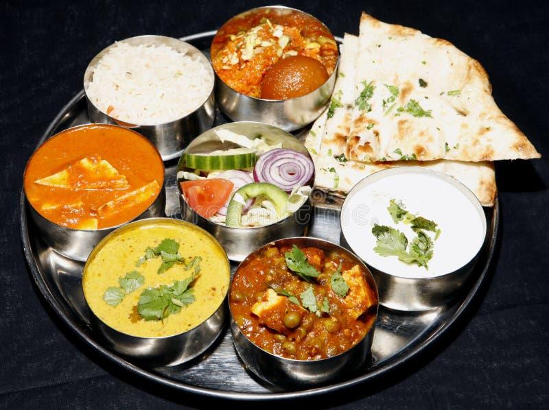 组合印第安naan thali 库存照片