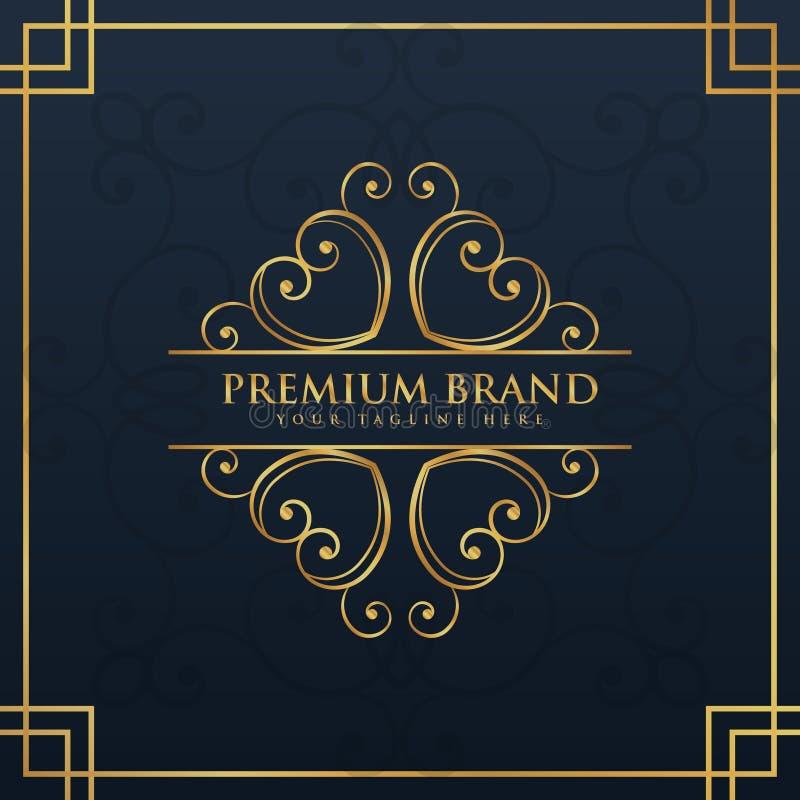 组合图案优质和豪华品牌的商标设计 向量例证