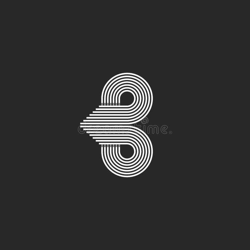 组合图案信件B商标最初,光滑线圈子行动形状,名片象征大模型 向量例证