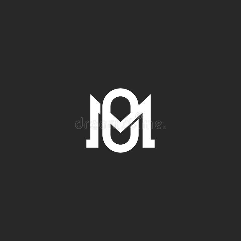 组合图案信件MO或OM最初商标设计元素,一起重叠两封信件M和O,婚姻象征大模型 向量例证