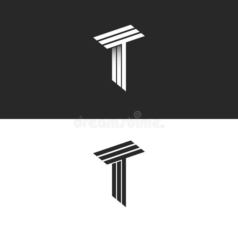 组合图案信件T一起商标黑白等量最初TTT象,3D行家印刷术设计元素 库存例证