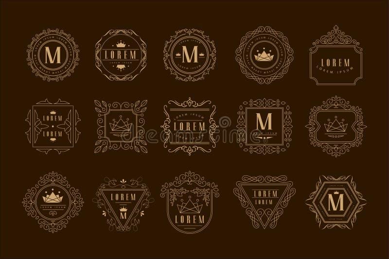 组合图案商标模板集合,与书法典雅的装饰品元素传染媒介例证的金黄纹章学徽章 库存例证