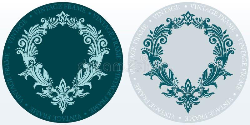 组合图案最初和专属书法设计元素 边界装饰花卉 华丽的框架 库存例证