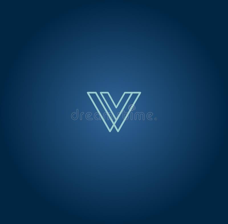 组合图案设计元素,优美的模板 书法典雅的线艺术商标设计 信件象征标志W 向量例证