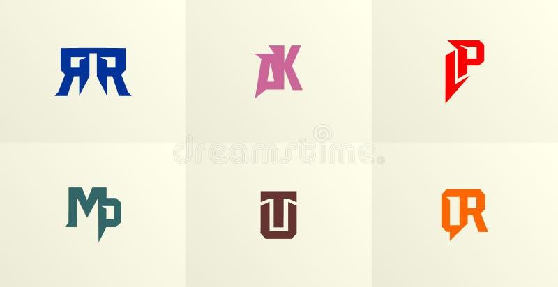 组合图案设计元素,优美的模板 书法典雅的线艺术商标设计 在象征上写字签署RR, AK, LP, MP, TU, QR 向量例证