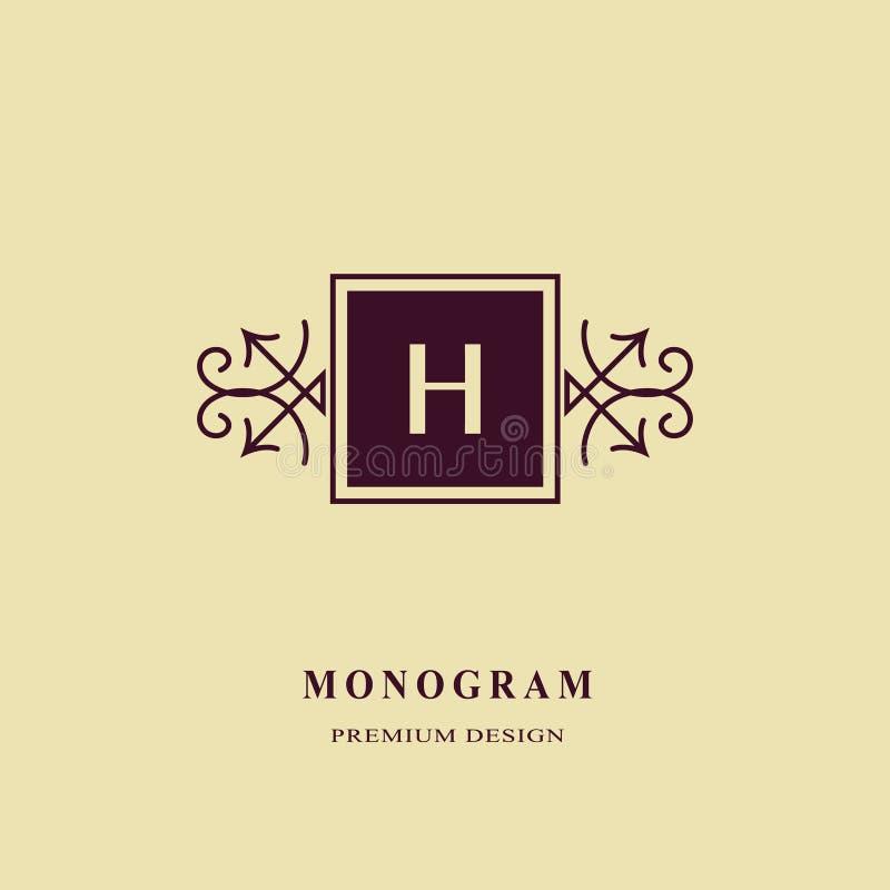 组合图案设计元素,优美的模板 书法典雅的线艺术商标设计 大写字母皇族的象征标志H, 皇族释放例证