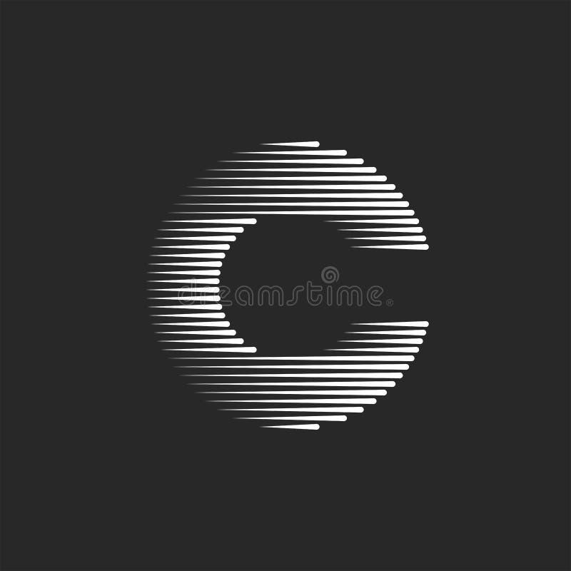 组合图案C信件商标创造性的设计,印刷术概念字体黑白线镶边了标记象征大模型 库存例证