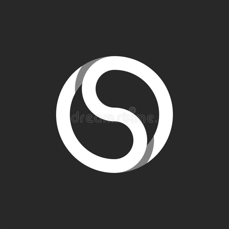 组合图案S信件商标圈子形状框架,不尽的闭合的奥秘象征 皇族释放例证