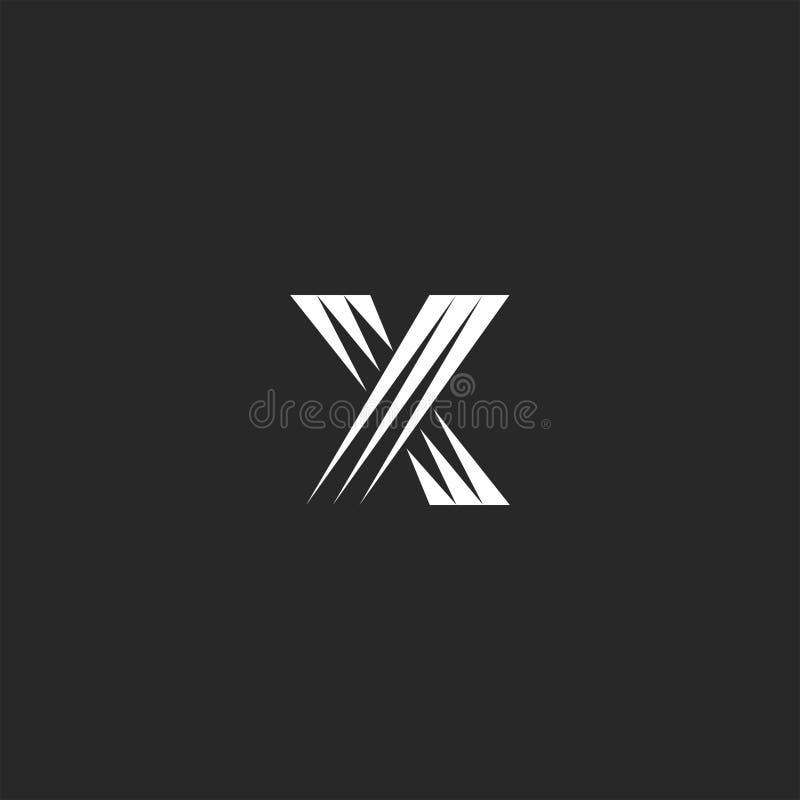 组合图案x信件商标设计元素,重叠黑白线形和发怒标志 向量例证
