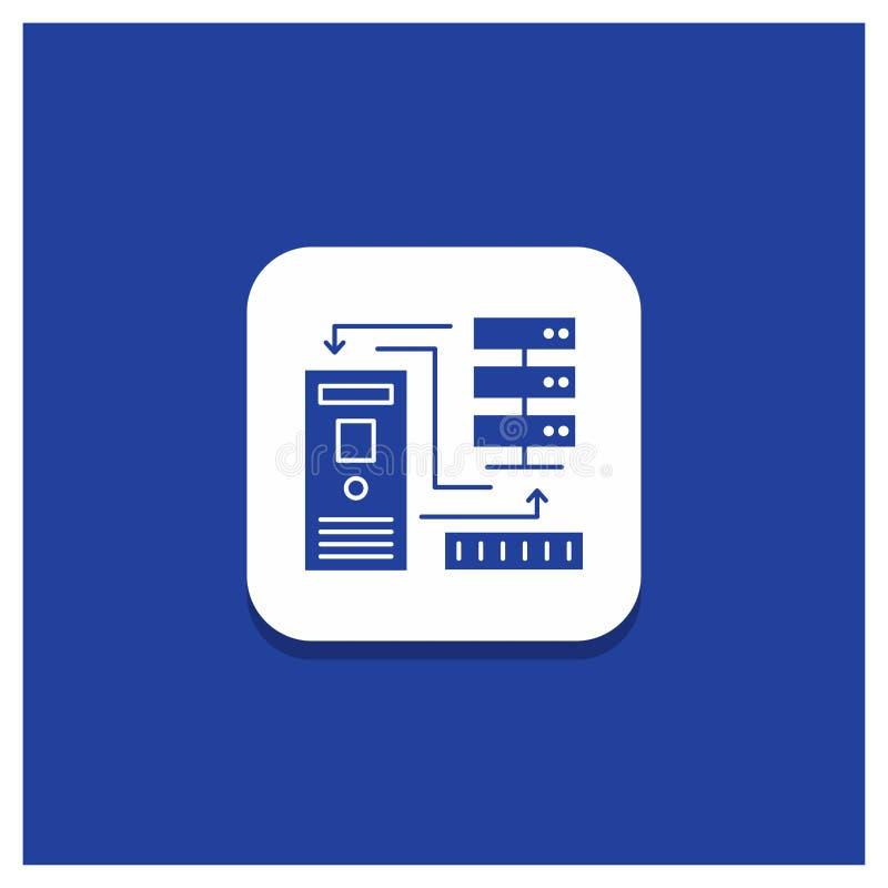 组合的,数据,数据库,电子,信息纵的沟纹象蓝色圆的按钮 库存例证