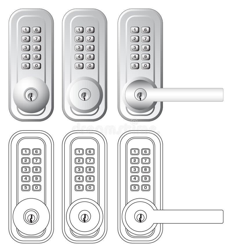 组合门例证关键字锁定 库存例证