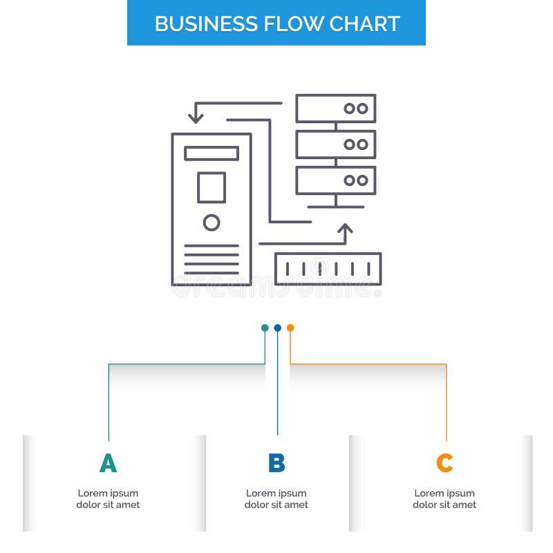 组合,数据,数据库,电子,信息企业与3步的流程图设计 r 库存例证
