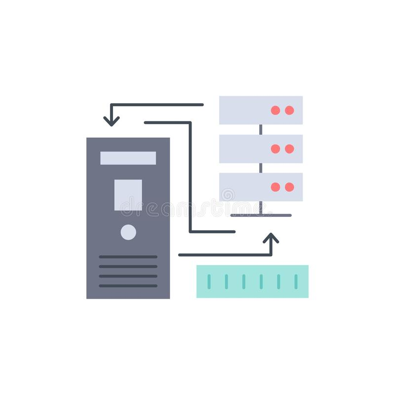 组合,数据,数据库,电子,信息平的颜色象传染媒介 向量例证