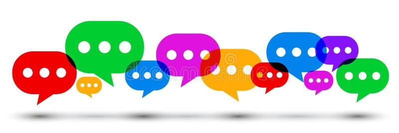 组图标通信概念 被设置的色的讲话泡影,闲谈标志-传染媒介 向量例证