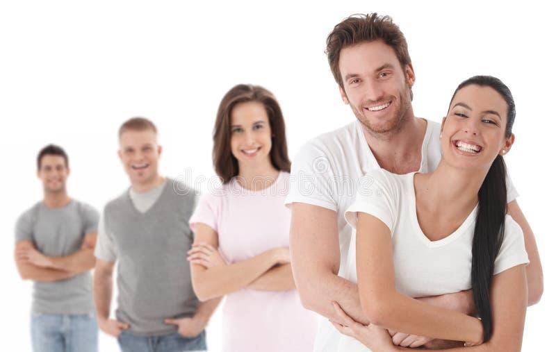 组愉快的人纵向年轻人 免版税库存照片