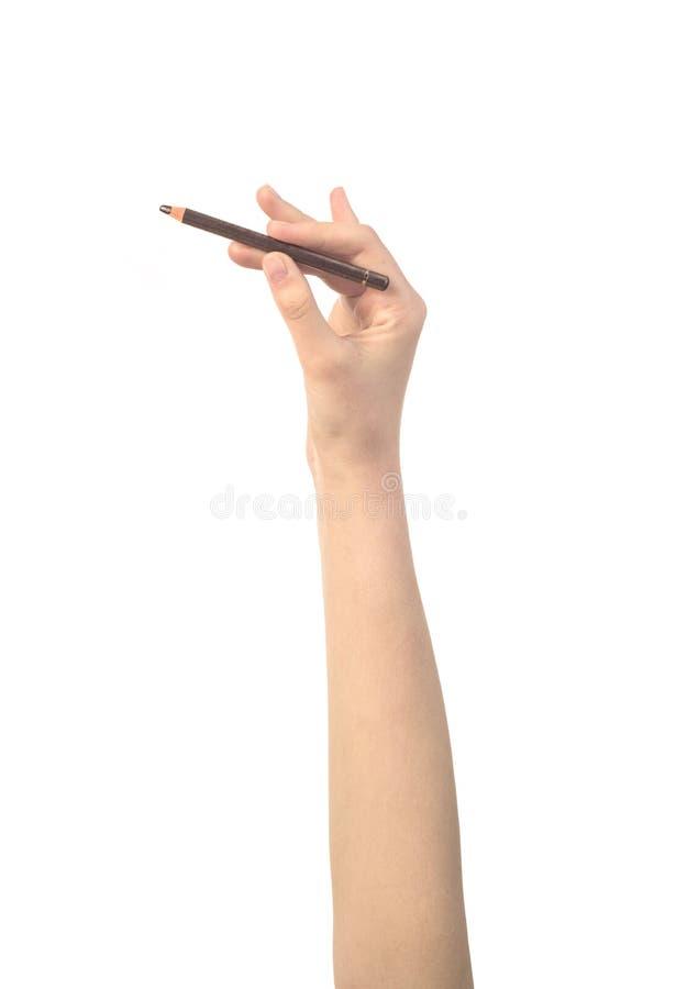 组成铅笔在妇女的手上 免版税库存照片
