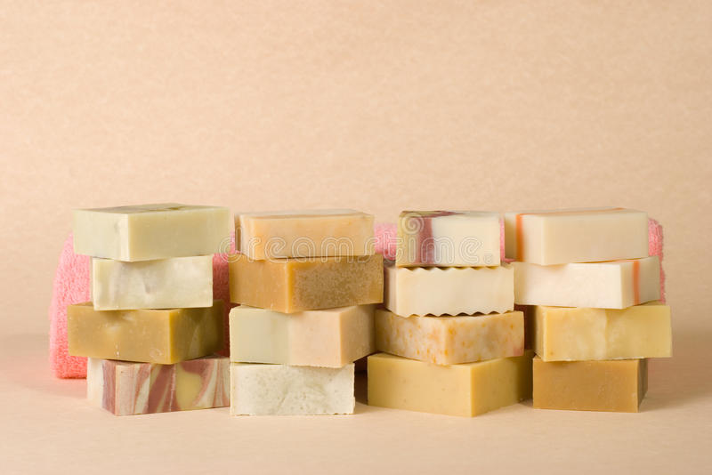 组手工制造草本物质肥皂 库存照片