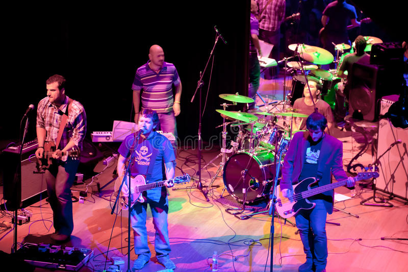 组的音乐会Indie流行音乐,香宾 库存图片