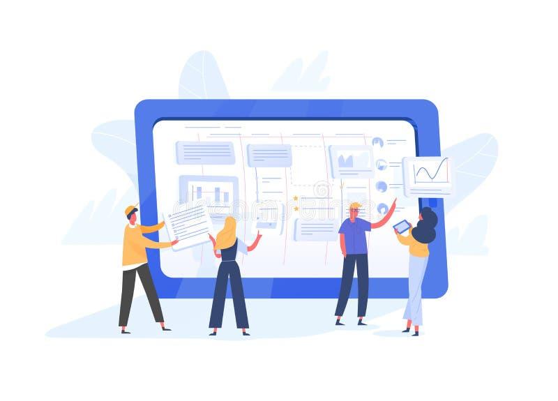 组织在巨型平板电脑屏幕上的小组微小的办公室工作者任务  敏捷,混乱或者项目Kanban方法  库存例证