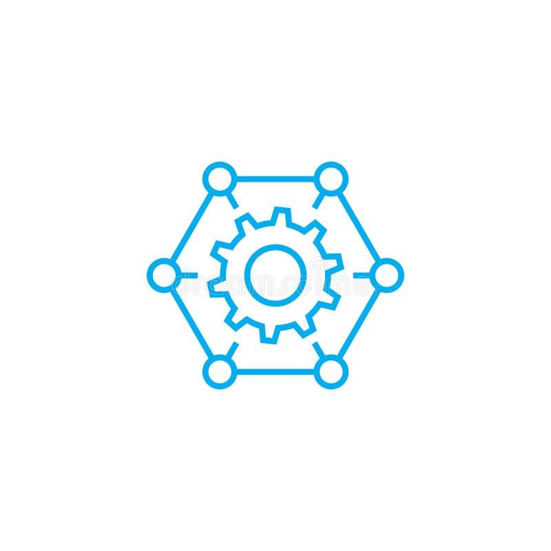 组织处理线性象概念 组织生产流水线传染媒介标志,标志,例证 库存例证